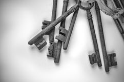 Bunch of old keys. Bunch of vintage oxidized keys with a strong patina Royalty Free Stock Image