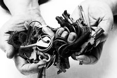 Bunch of old keys in hands. Stock Photography