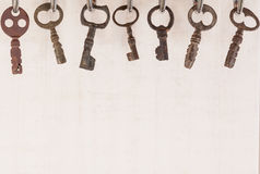 Bunch of old keys hanging on wall Royalty Free Stock Photo