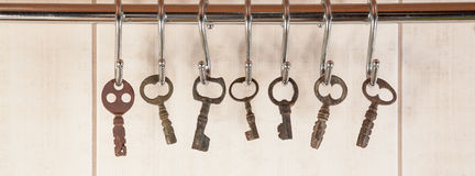 Bunch of old keys hanging on wall Stock Image