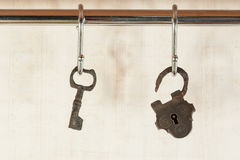 Bunch of old keys hanging on wall Royalty Free Stock Images