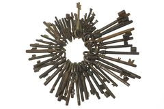 Bunch of old keys isolated on white background Royalty Free Stock Photo