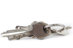 Bunch of old keys isolated on white background. Royalty Free Stock Photography