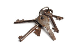 Bunch of old keys on white Stock Photography