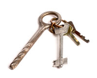 Bunch of old keys on white Royalty Free Stock Photos