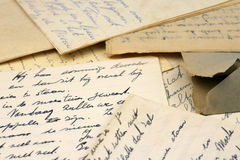 A bunch of old letters. Written with ink Stock Image
