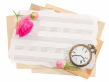 Bunch of old note papers with antique clock. Low poly illustration bunch of old note papers with antique clock and rose Stock Image