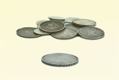 A bunch of old Russian coins of silver Stock Images