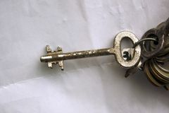Bunch of old rusty keys of various size on a key-ring . stock photo