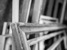 A bunch of old, used picture frames, shallow depth of field royalty free stock photography