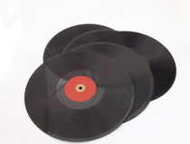 Bunch of old vintage records. Black heavy vintage records from the thirties and forties Stock Images