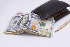 Bunch of the  one hundred dollar bills Stock Photos