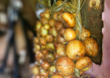 Bunch of onions. On an old wooden background Royalty Free Stock Photography
