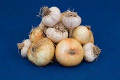 Bunch of onions and garlic Royalty Free Stock Photos