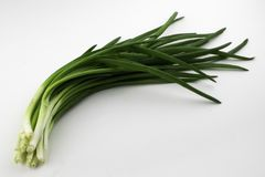 Bunch of onions on a white background royalty free stock image