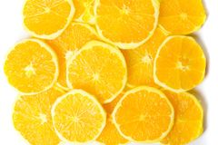 Bunch of orange fruit slices pile Royalty Free Stock Images