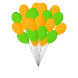 Bunch of orange and green balloons royalty free illustration