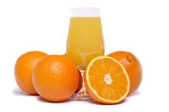 Bunch of oranges with juice Stock Images