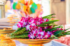 Bunch of orchid flower in the tray for offering Royalty Free Stock Photo