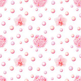 Bunch and Orchid Watercolor Seamless Pattern Royalty Free Stock Photo