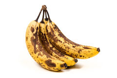 Bunch of overripe bananas. Isolated on white background royalty free stock photo