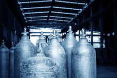 A bunch of oxygen cylinders. Neatly placed in the warehouse of industrial oxygen tank stock photos