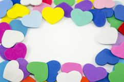 Bunch of paper hearts on a wite background Royalty Free Stock Images