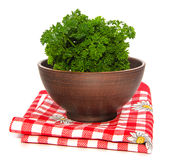 Bunch of parsley in ceramic bowl Royalty Free Stock Photos