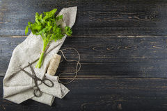 Bunch of parsley on dark wooden background Stock Image