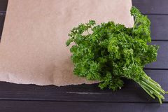 Bunch of parsley and wrapping paper Royalty Free Stock Photography