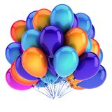 Bunch party balloons colorful. birthday carnival decoration. Multicolored. happy holiday, anniversary greeting card design element. 3d illustration Royalty Free Stock Photos