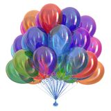 Bunch party balloons colorful. happy birthday, holiday decoration. Multicolored. different colors celebration symbol. 3d illustration Stock Photos