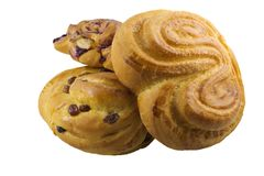 Bunch of pastry. Various sweet pastry isolated on white Royalty Free Stock Photo