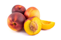 Bunch of peaches on white. Fruit background Royalty Free Stock Photos