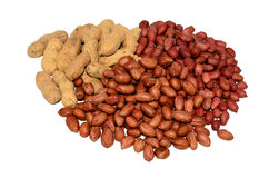 A bunch of peanuts and unshelled peanuts. A pile of peanuts and unshelled peanuts isolated Stock Images