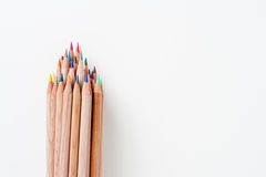 Bunch of pencil with wooden body and colored tips Royalty Free Stock Photos