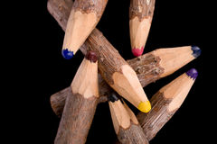 Bunch of pencils stylized tree branch. on black Royalty Free Stock Photography