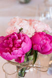 Bunch of peony. Bunch of artificial peony in vase with string Stock Photo