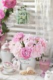 Bunch of peony in shabby chic style interior Royalty Free Stock Image