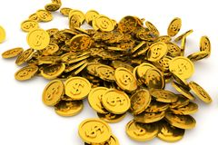 Bunch or pile of illustrative gold coin, background isolated on white. Pattern, backdrop, digital & decoration. Bunch or pile of illustrative gold coin vector illustration