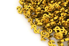 Bunch or pile of illustrative gold dollar sign, background isolated on white. Business, illustration, shape & profit. Bunch or pile of illustrative gold dollar royalty free illustration