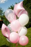 Bunch of pink balloons. On the picnic royalty free stock photo