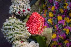 Bunch of pink flower street selling in details stock images