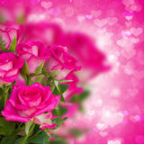 Bunch of pink roses on background with hearts Stock Image