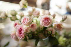 Bunch of pink roses. In the interior Stock Photography