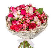Bunch of pink roses isolated on white. Background Stock Images
