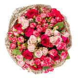 Bunch of pink roses isolated on white. Background Stock Photo