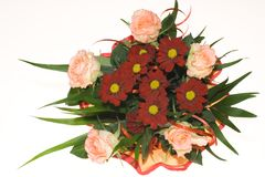 Bunch of pink roses and red flowers. Top view Royalty Free Stock Photos