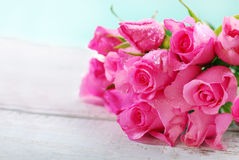 Bunch of pink roses and space for text Royalty Free Stock Photo
