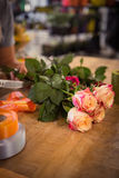 Bunch of pink roses on table Royalty Free Stock Image